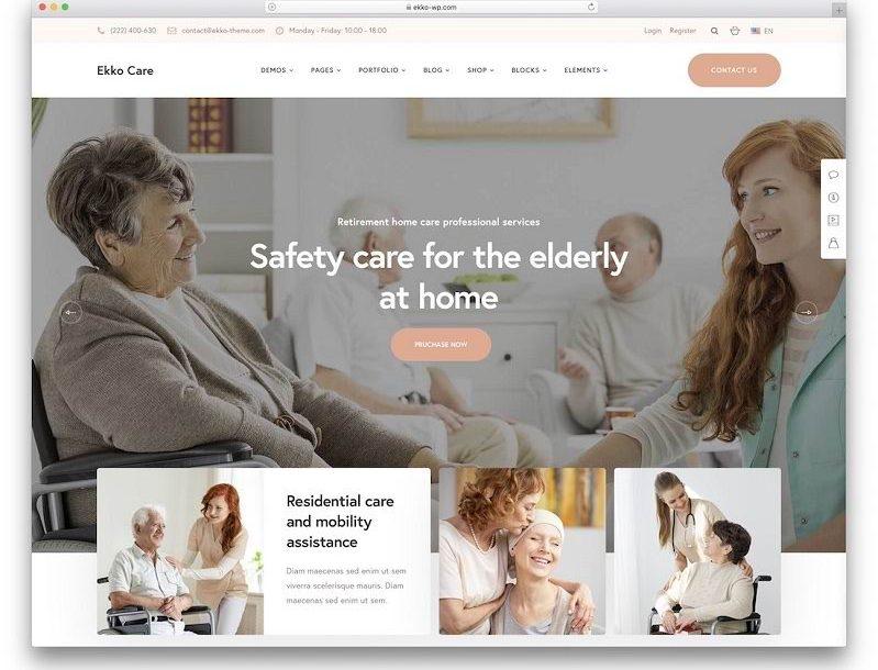 Sanatorium Elderly WEBSITE design wordpress